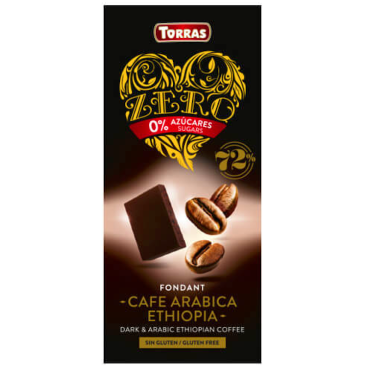 Zero dark chocolate with coffee beans